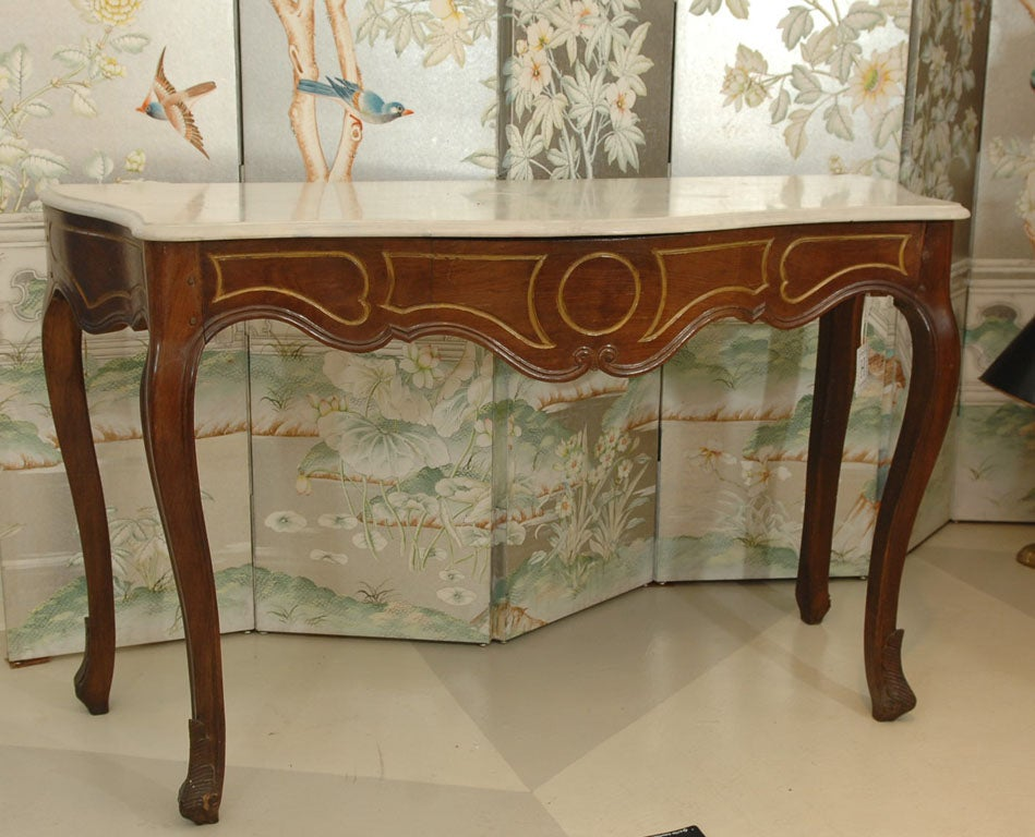 Italian Rococo Style Marble Top Console Table,<br /> with Marble Top and Gilt Accents