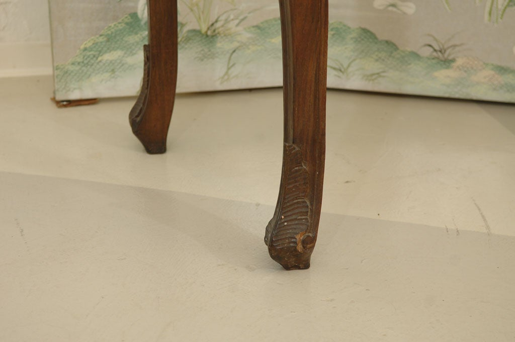 Wood Italian Rococo Style Marble Top Console Table For Sale
