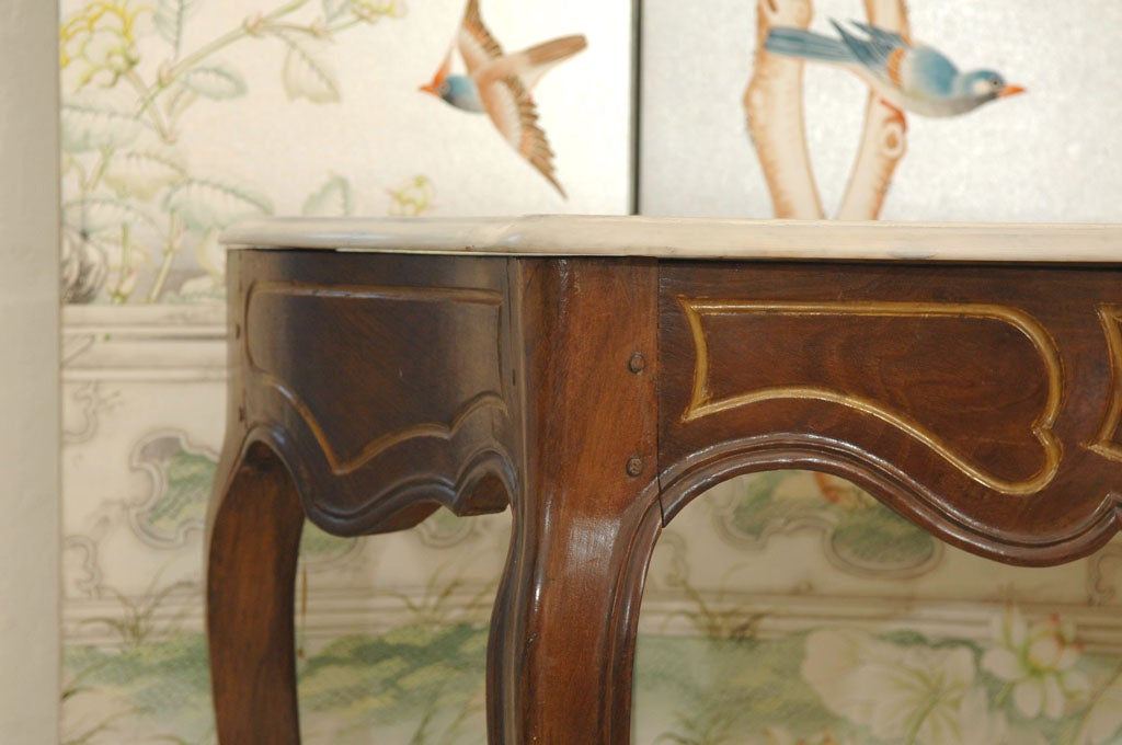 Italian Rococo Style Marble Top Console Table For Sale 1