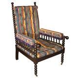 Renaissance Revival Ebonized Bobbin-Turned Armchair, English, circa 1870