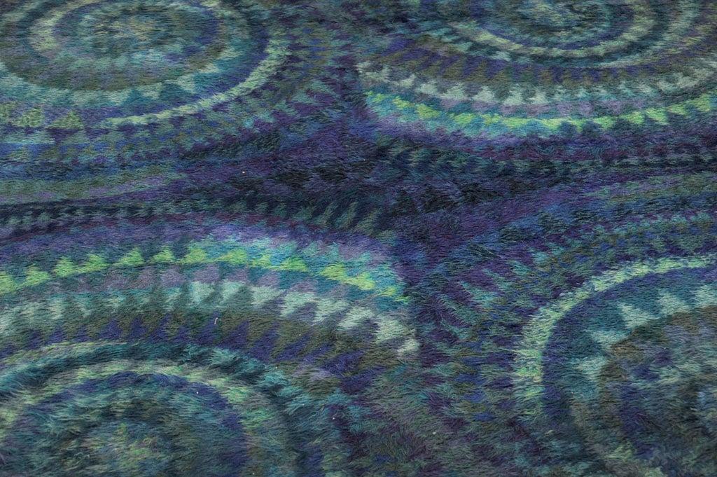 Blue Spiral Rya Rug 4