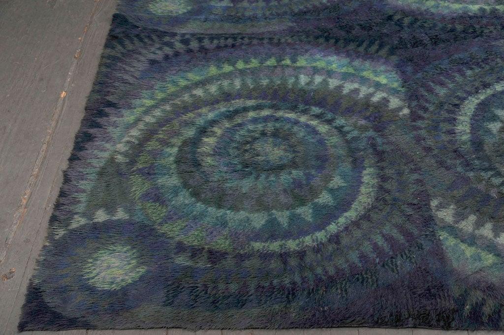 Blue Spiral Rya Rug 3