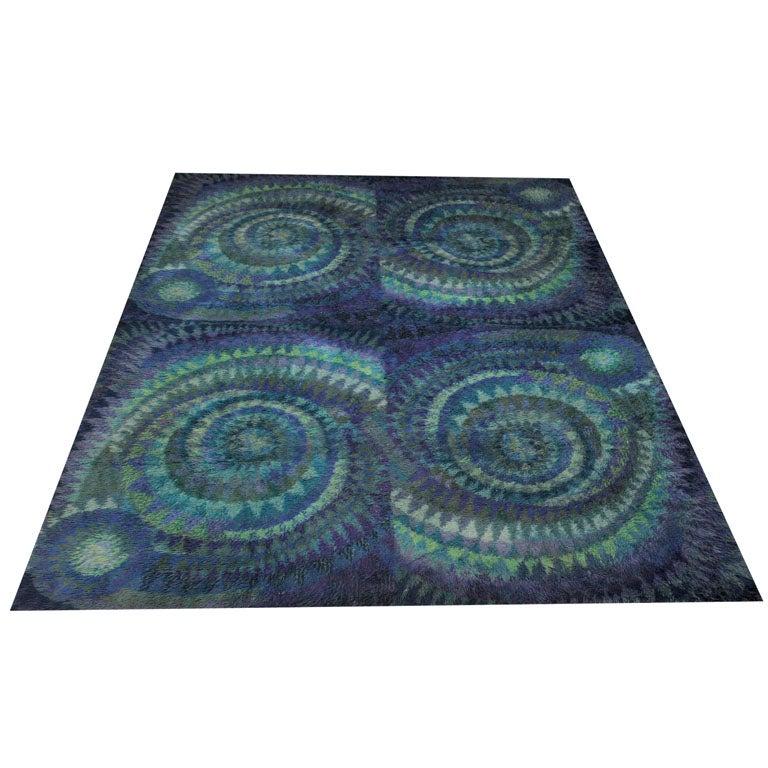Blue Spiral Rya Rug 1