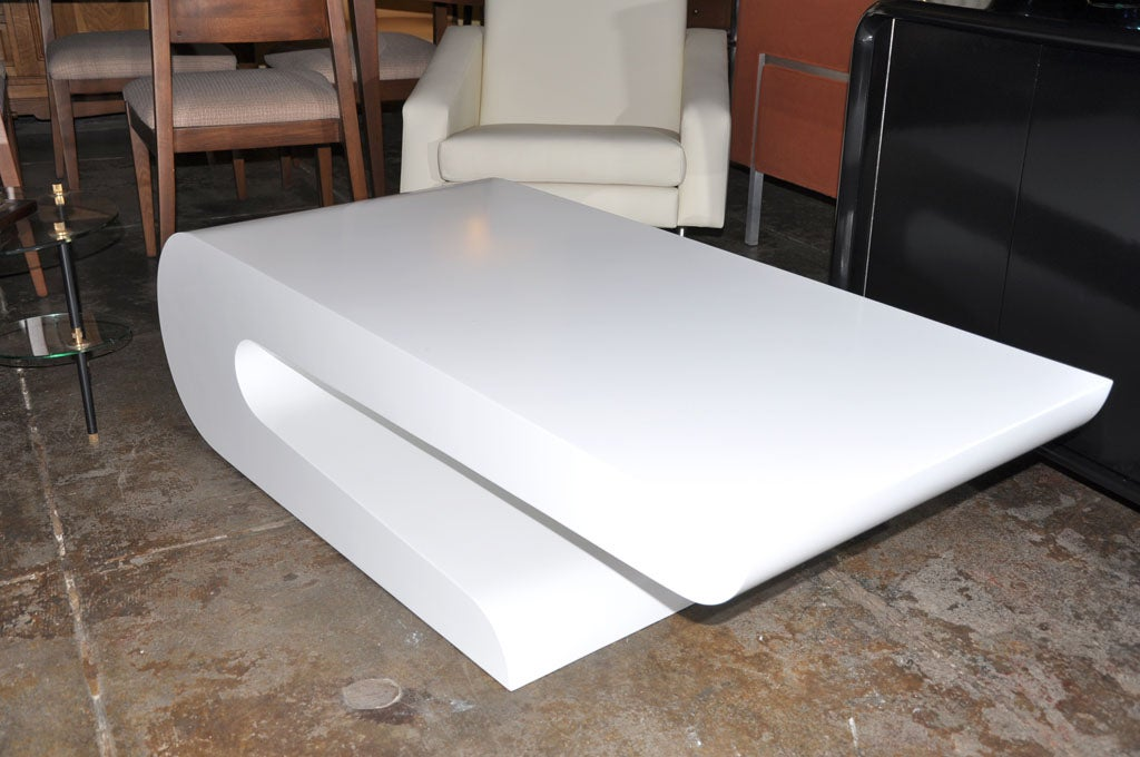 White Waterfall Tables ~ White lacquer quot waterfall shaped coffee table by pierre