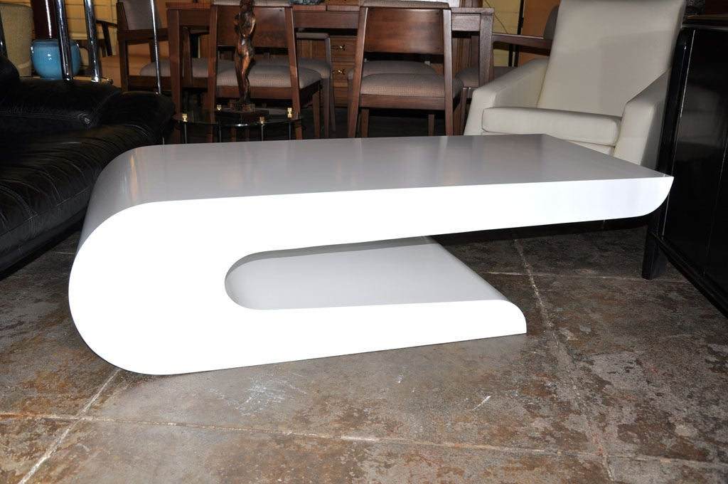White Lacquer Waterfall Shaped Coffee Table By Pierre Cardin At 1stdibs