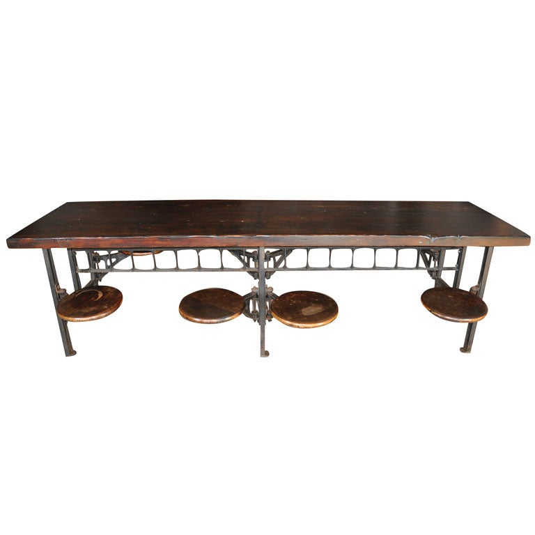 Industrial 8 seater dining table at 1stdibs for Dining room table 8 seater