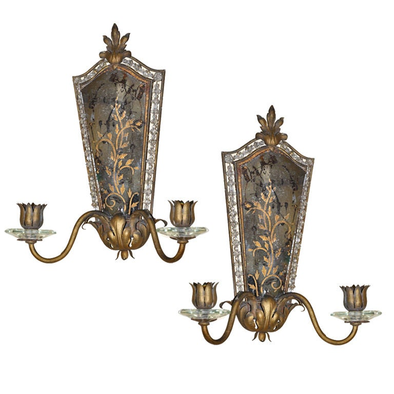 Jeweled Candle Wall Sconces : Pair of Mirrored and Beaded Candle Sconces at 1stdibs