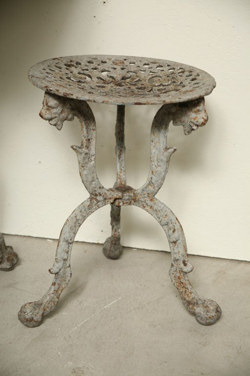 French Provincial Suite of Grey Painted Cast Iron Table and Four Tabourets For Sale