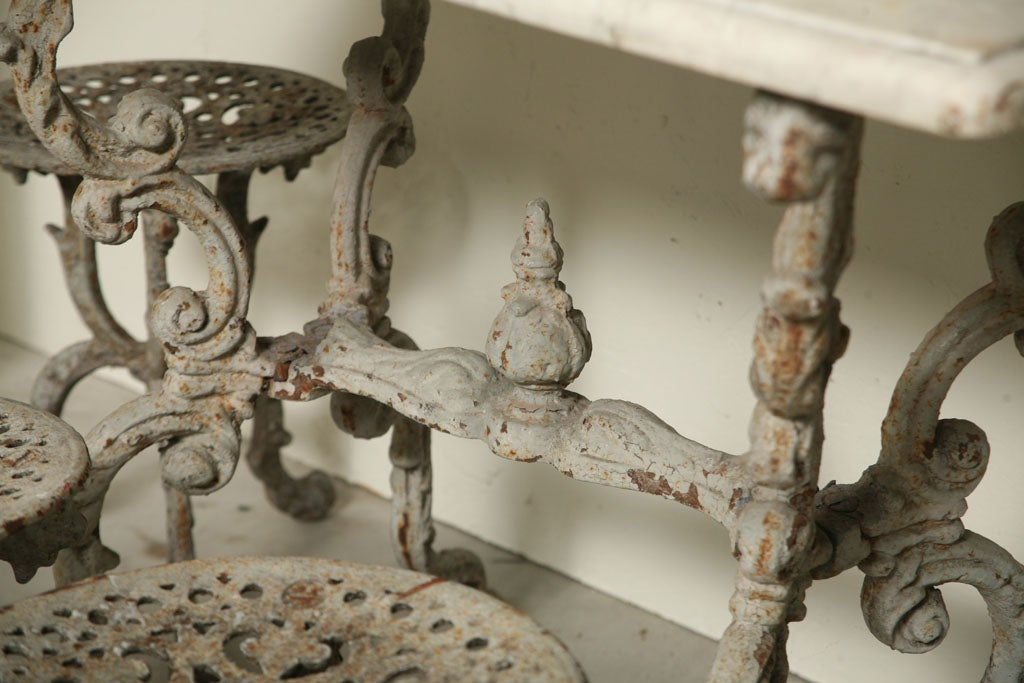 Suite of Grey Painted Cast Iron Table and Four Tabourets For Sale 5