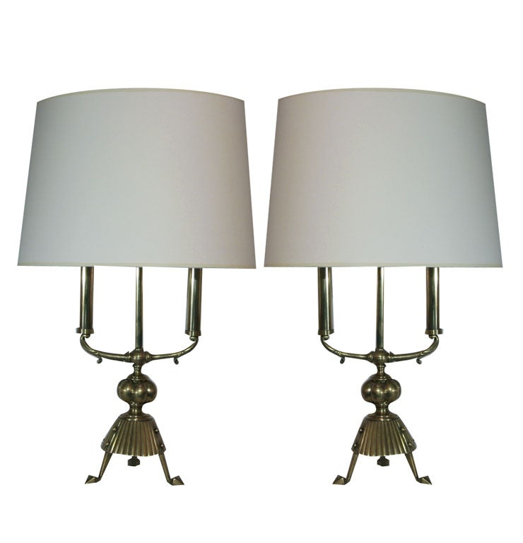 Pair of Secessionist Brass Table Lamps