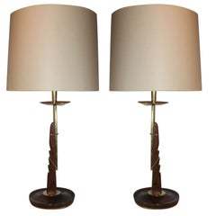 Table Lamps Pair Mid Century Modern adjustable wood and brass