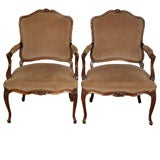 Pair antique French Louis XV style walnut armchairs.