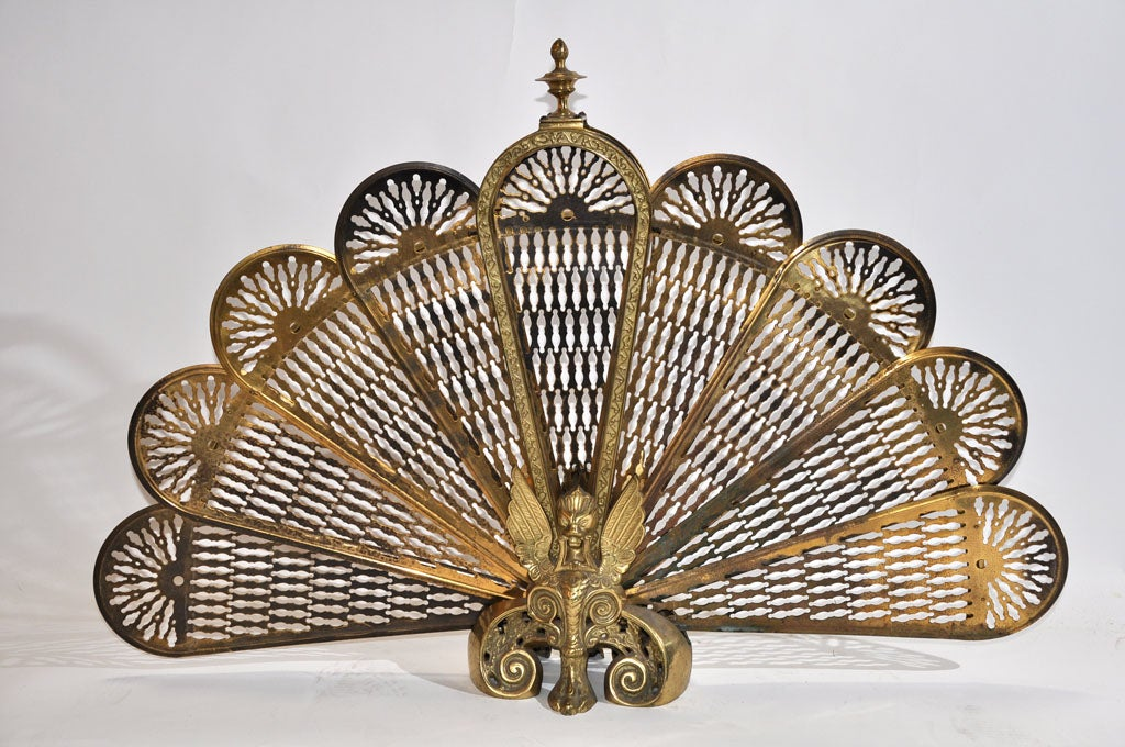 19th Century Victorian Brass Firescreen 2
