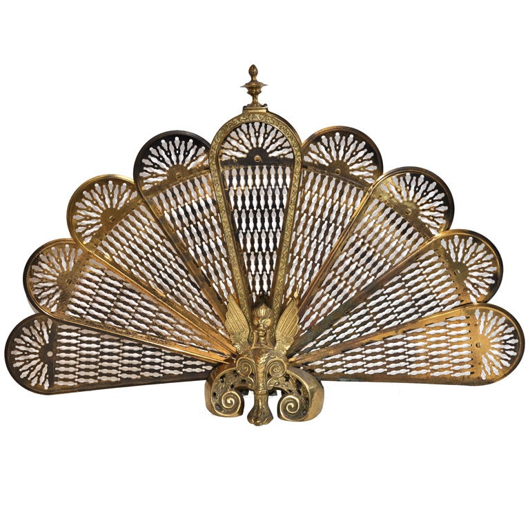 19th Century Victorian Brass Firescreen 1
