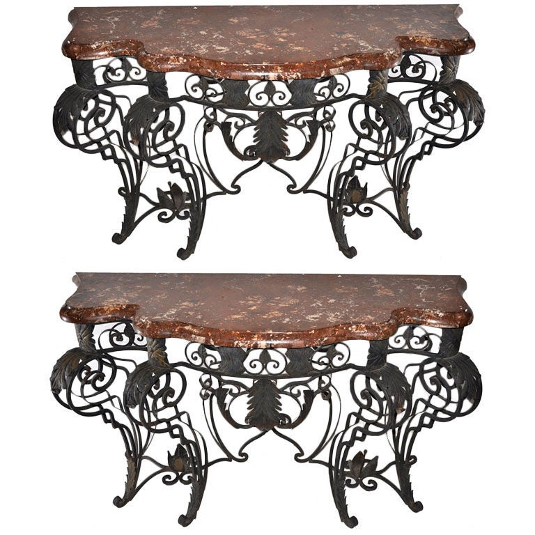 Pair of Louis XIV Style Iron and Marble Console Tables