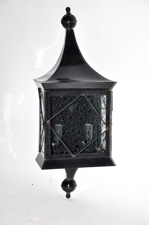 Iron Outdoor Wall Sconces : Iron and Glass Outdoor Sconce For Sale at 1stdibs