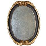 Black Gilt Oval Carved Wood Mirror