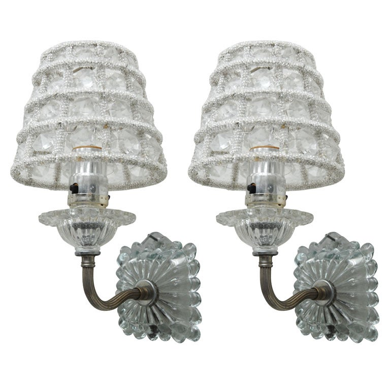 Wall Sconces With Shades : Pair of Glass Wall Sconces with Glass Shades at 1stdibs