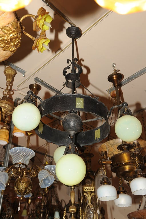 Arts and Crafts Hammered Iron Chandelier For Sale at 1stdibs