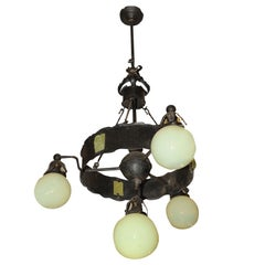 Arts and Crafts Hammered Iron Chandelier