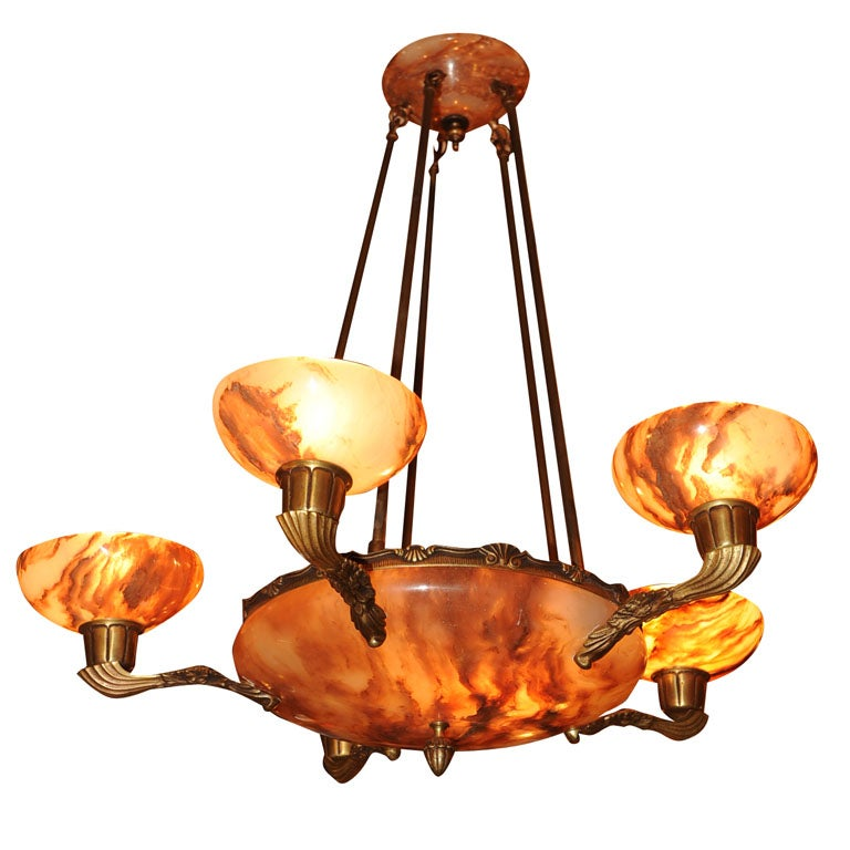 Alabaster Chandelier With Five Shades And Center Bowl At