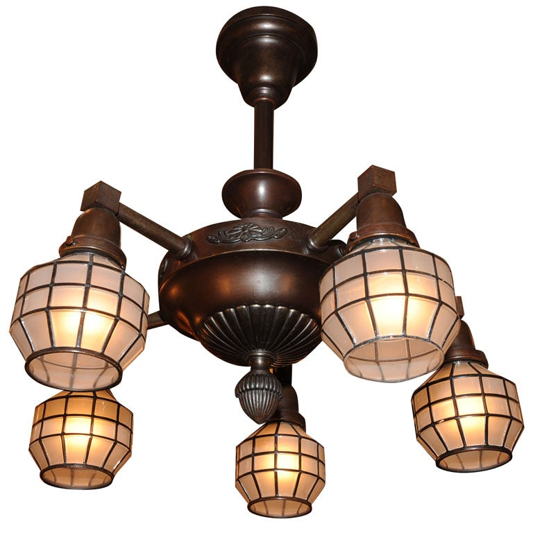 Arts and crafts five arm chandelier at 1stdibs for Arts and crafts chandelier
