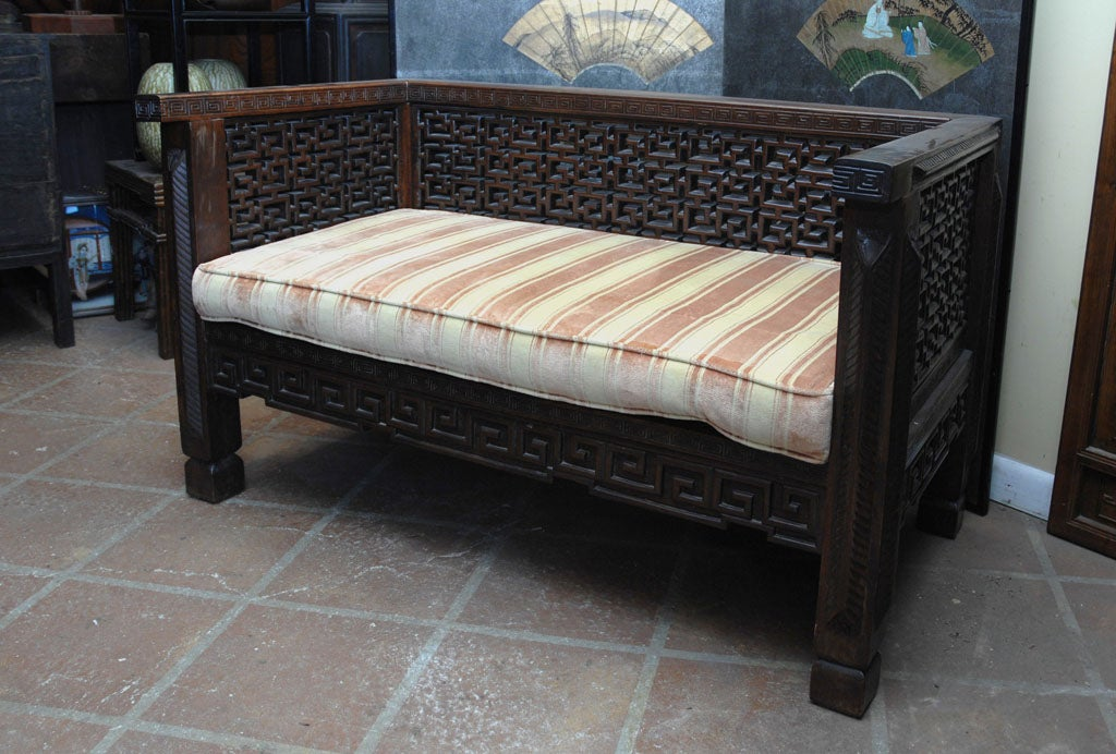 Turn of the century Shanghai carved rosewood settee.
