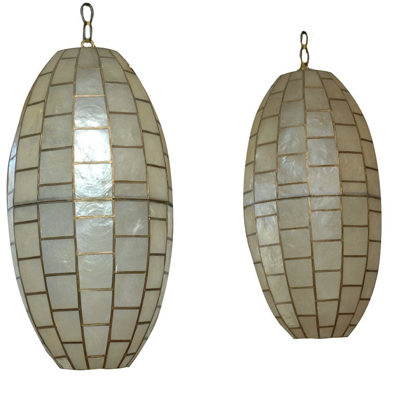 oblong ovoid capiz shell pendent ceiling fixture at 1stdibs