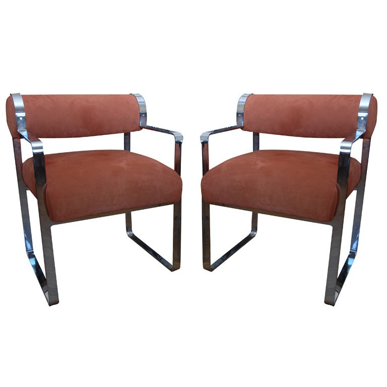 pair of suede and steel armchairs by milo baughman at 1stdibs fighting chair bucket harness fighting chair fishing