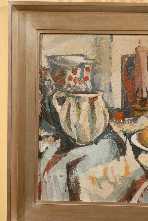Hungarian Still Life, Ferenc Dobrints, Framed Oil on Canvas In Good Condition For Sale In Atlanta, GA