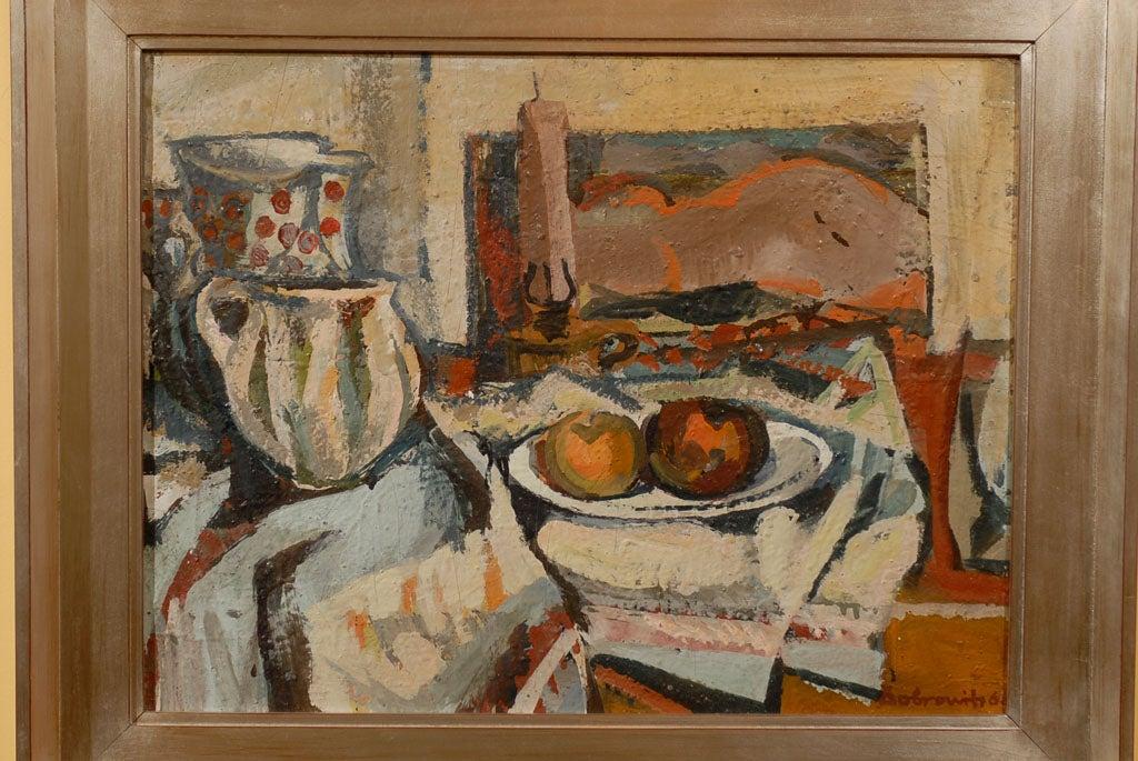 Hungarian Still Life, Ferenc Dobrints, Framed Oil on Canvas For Sale 1