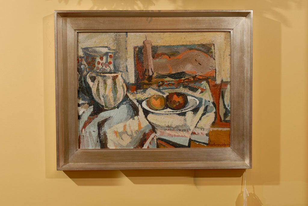 Hungarian Still Life, Ferenc Dobrints, Framed Oil on Canvas For Sale 3