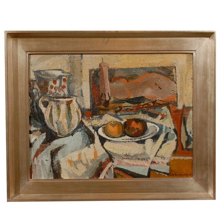 Hungarian Still Life, Ferenc Dobrints, Framed Oil on Canvas For Sale