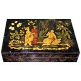 Chinioserie Polychrome and Gilt Decorated Card Box, French, circa 1815