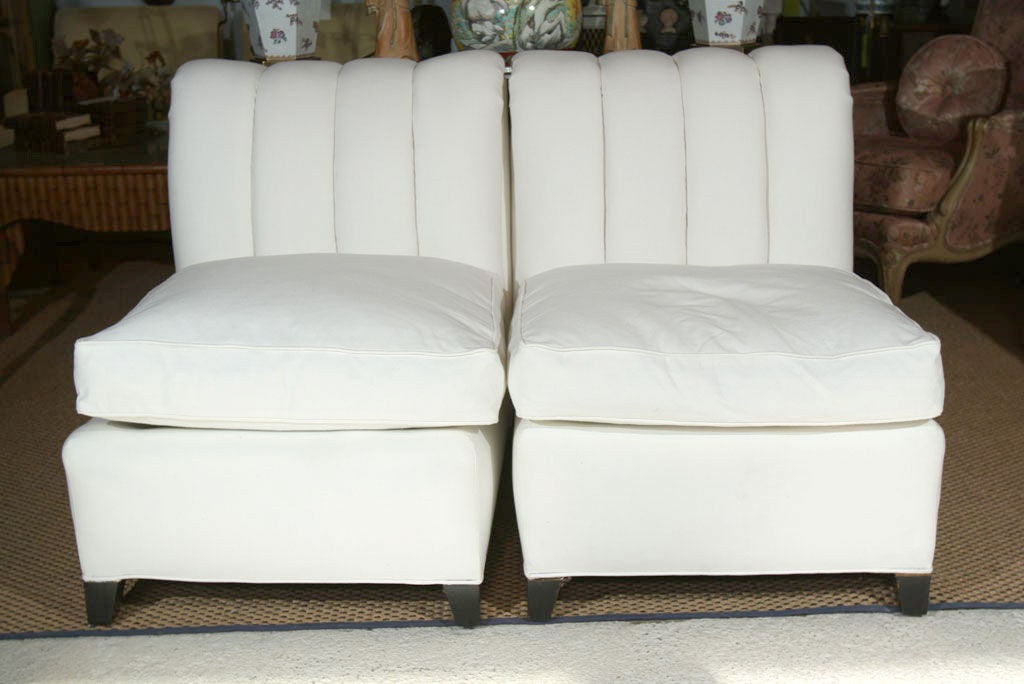 PAIR Hollywood Regency Channel Back Chairs image 3