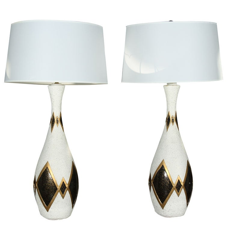 Pair Mad Men Style Ceramic Lamps At 1stdibs