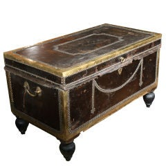 Studded Leather Trunk circa 1830 Coffee Table