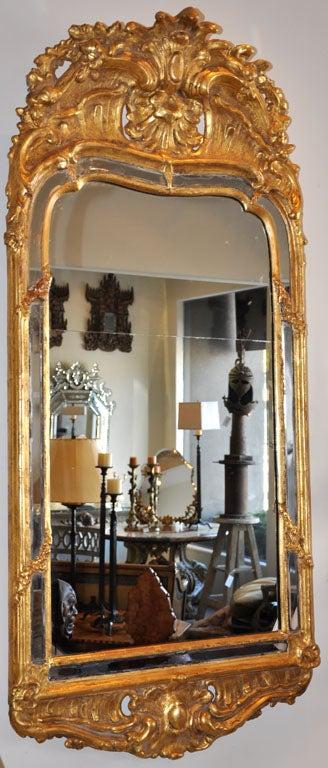 19th Century Swedish Rococo Giltwood Mirror For Sale 2