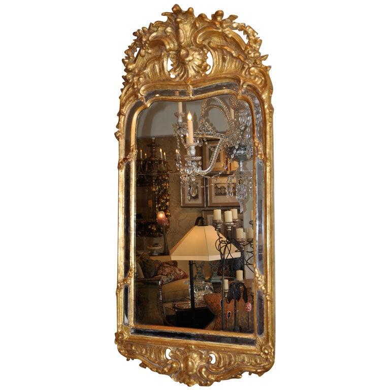 19th Century Swedish Rococo Giltwood Mirror