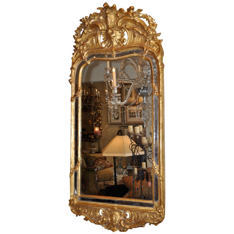 19th Century Swedish Rococo Giltwood Mirror For Sale