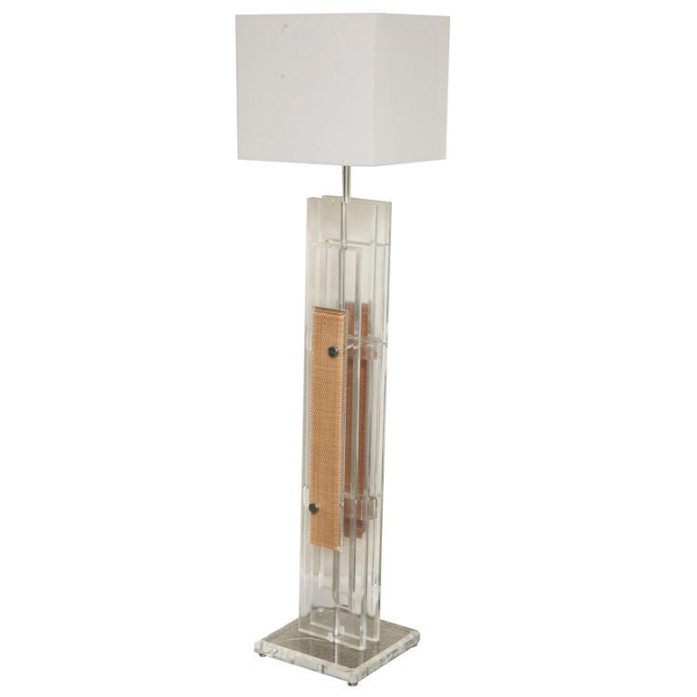Interesting Lucite Floor Lamp W Wicker Details For Sale At