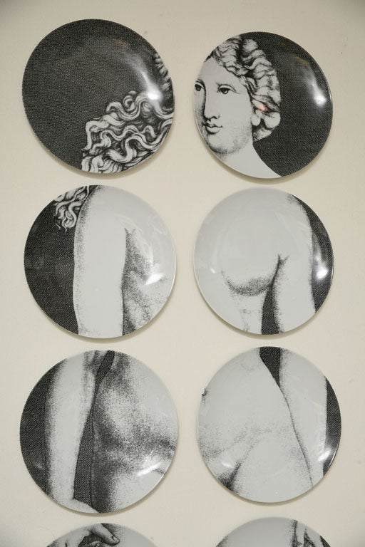 Mid-20th Century Adam & Eve Plates by Piero Fornasetti