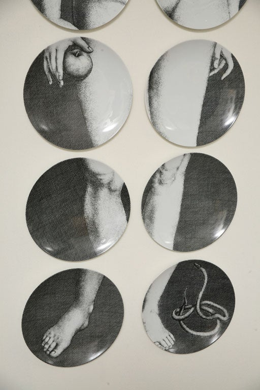 Ceramic Adam & Eve Plates by Piero Fornasetti