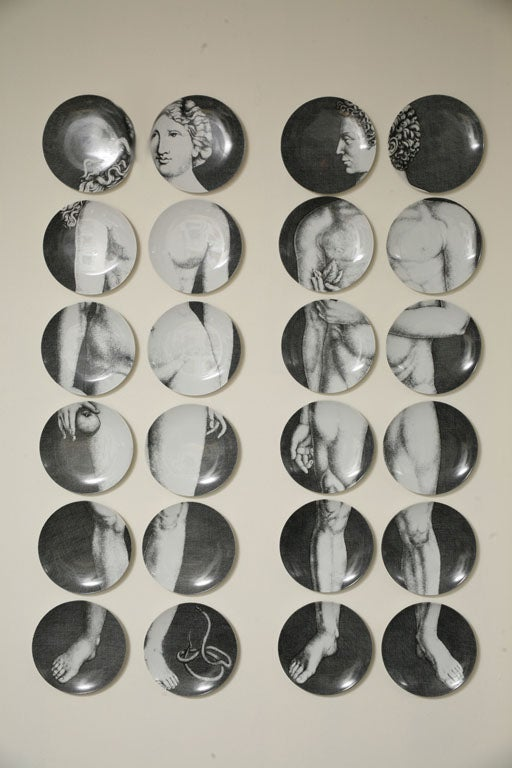 Adam & Eve created by Piero Fornasetti Entire Collection of 24 plates. Rare to come by! Each plate is 10