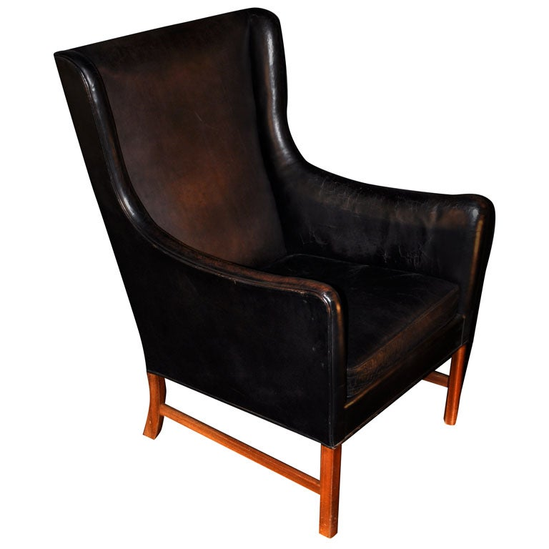 OLE WANSCHER BLACK LEATHER WINGBACK ARM CHAIR at 1stdibs