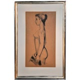 Remarkable Charcoal Nude by Johannes Hedegaard, circa 1950
