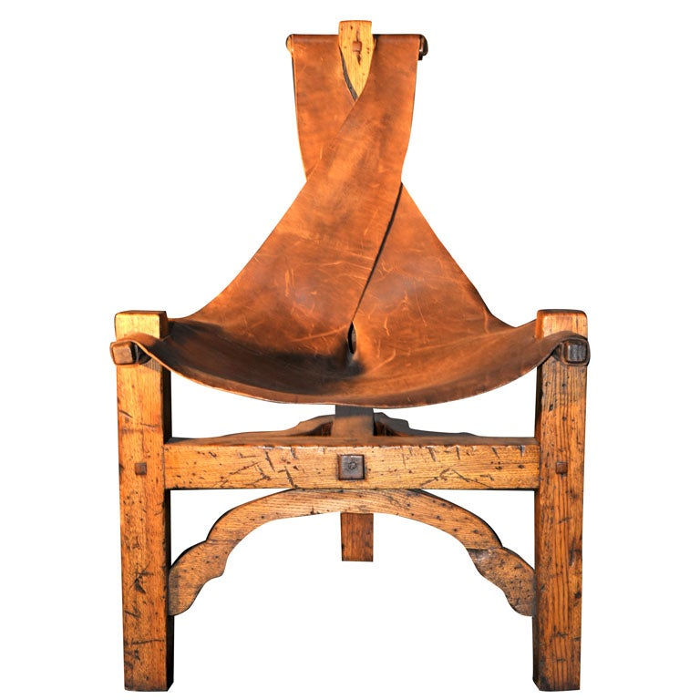 Arts And Crafts 3 Legged Leather Sling Chair At 1stdibs