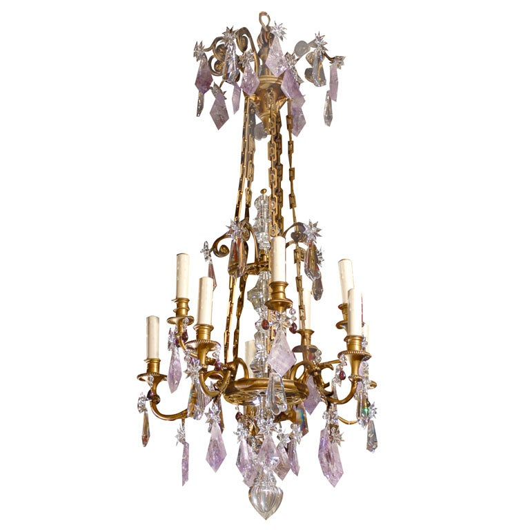 Louis Philippe Style Chandelier with Amethyst Pendalogues at 1stdibs