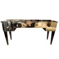 Mirrored Flip-Top Vanity Desk