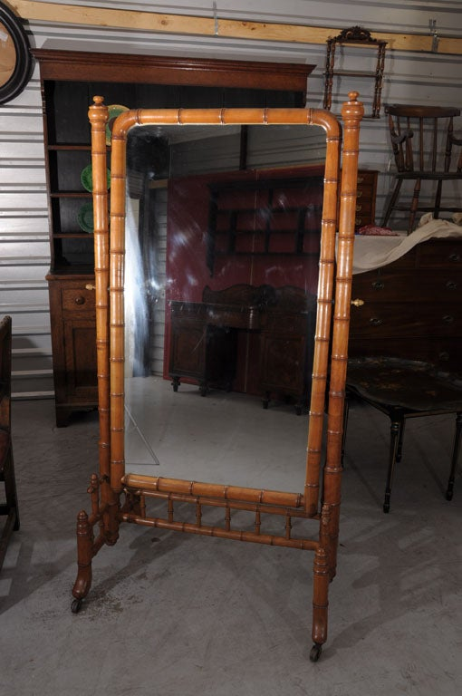 Faux Bamboo Cheval Mirror On Casters At 1stdibs